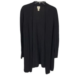 Chico's solid black tunic open cardigan sweater